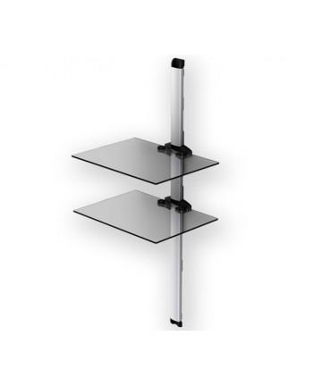 PLASMA PL2620 SILVER - Panel z 2 półkami pod sprzęt, 111 cm