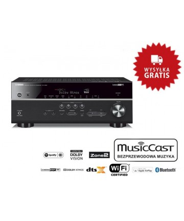 Yamaha MusicCast RX-V685 - Amplituner AV z Dolby Atmos, DTS:X, MusicCast, 2xHDMI, złączem gramofonowym, dwukierunkowym Bluetooth