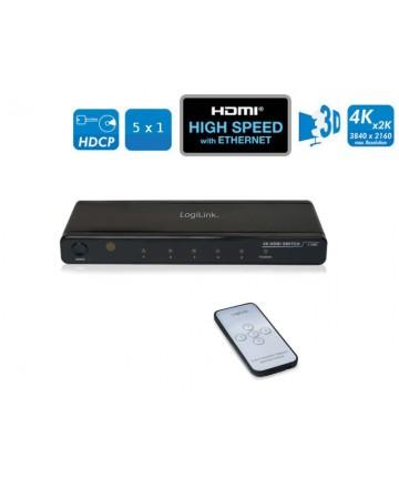LogiLink HD0013 - Switch HDMI 5 do 1. Pięć nadajnów do jednego odbiornika. Pilot