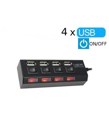 LogiLink UA0128 - Hub 4-portowy z wyłącznikami, USB 2.0
