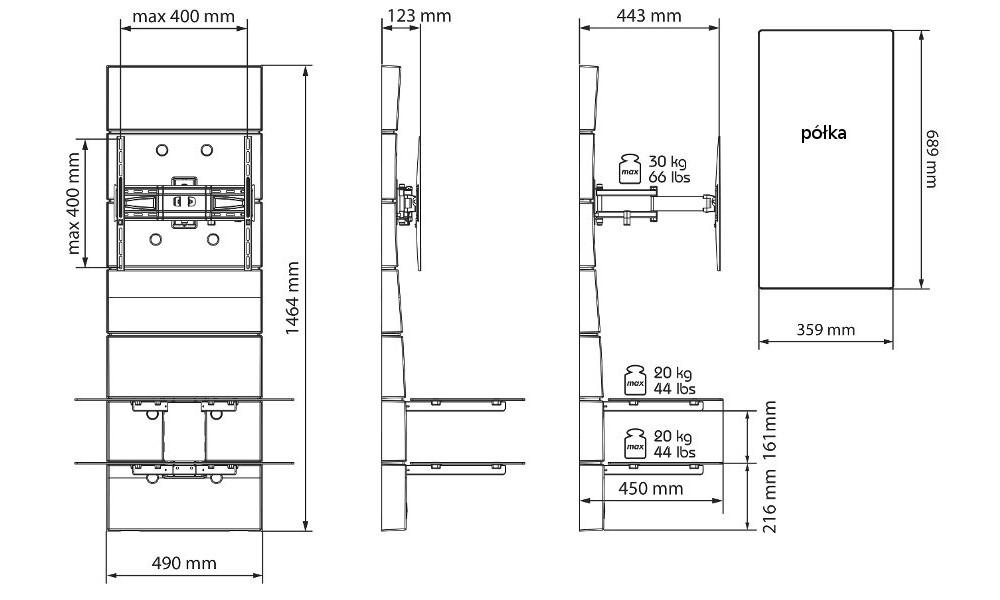 meliconi ghost design 3000 obrotowy uchwyt z panelem. Black Bedroom Furniture Sets. Home Design Ideas