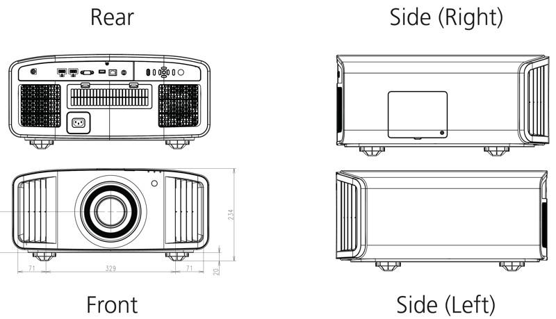 Projektor JVC DLA-RS2000 - wymiary