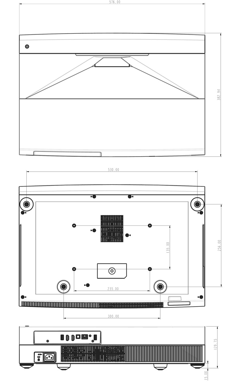 Optoma CinemaX P2 - wymiary