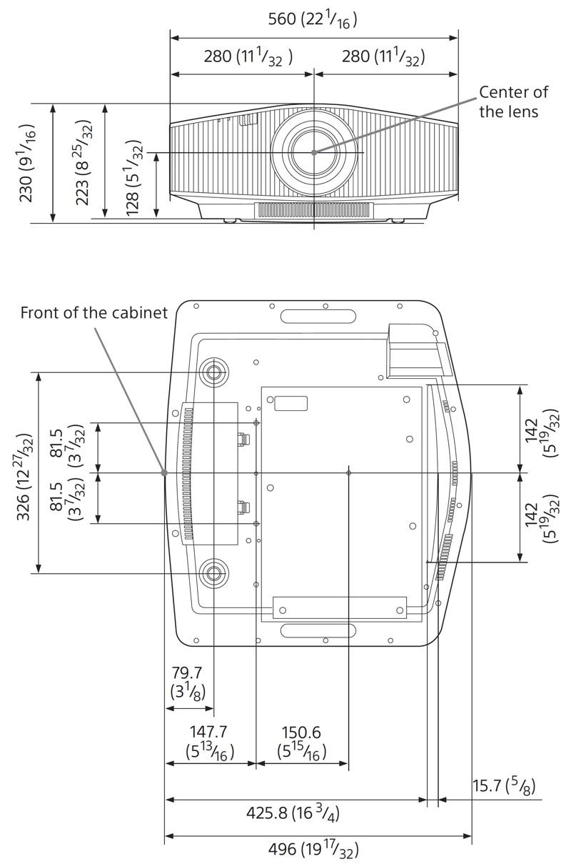 Sony VPL-VW760ES - wymiary