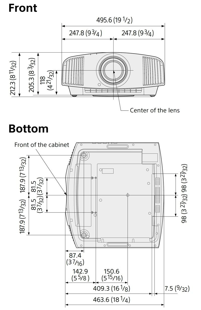 Sony VPL-VW590ES - wymiary